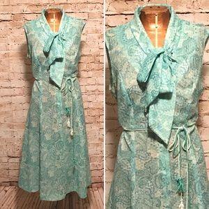 Vintage 1979s Sheer Lace Belted Dress